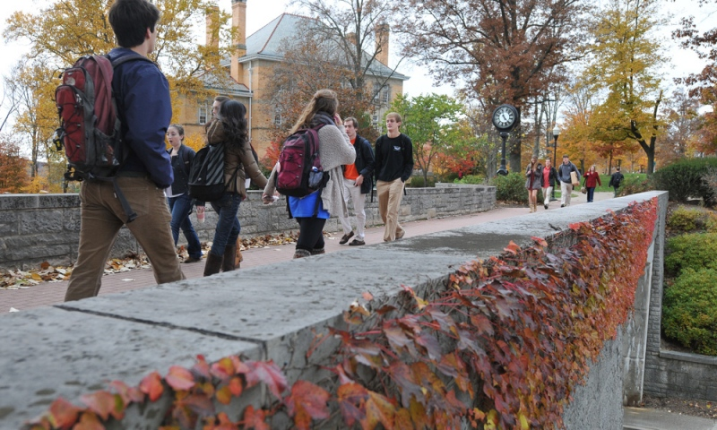 Students walking around campus