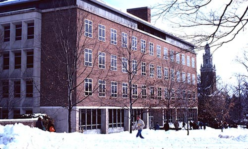 Photo of A. Blair Knapp Hall in winter