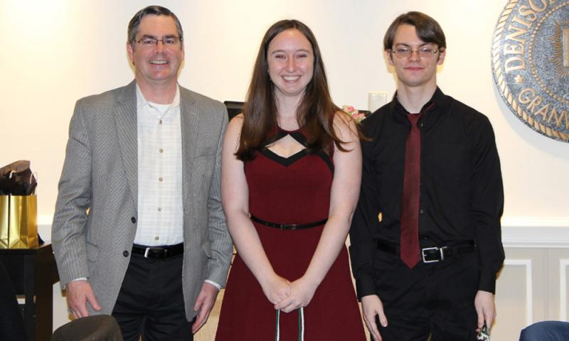 Jane Bright and Patrick Banner with a professor