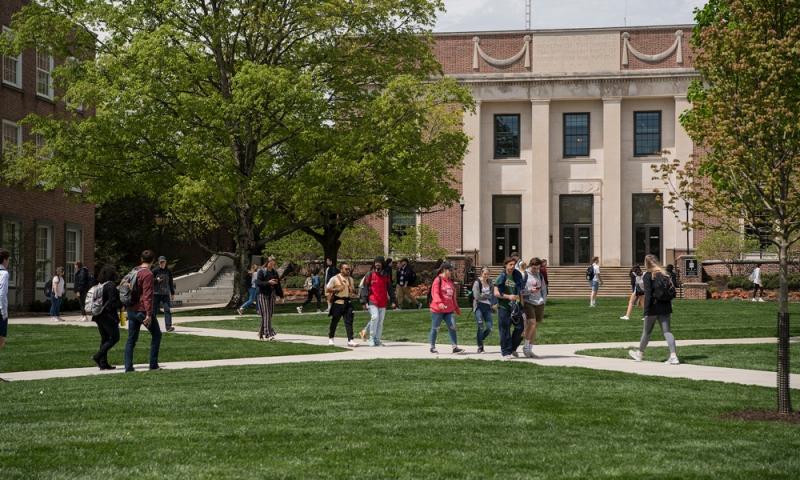 Denison students on the academic quad