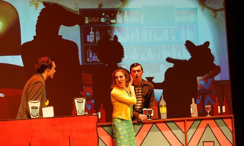 Denison students on the stage of 'BoJack Horseman'