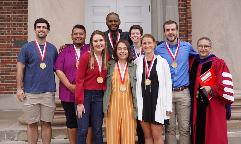 Denison President Adam Weinberg with the 2019 President's Medalists