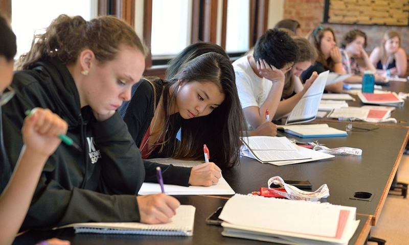 Students during an on-campus Reynold Writing Workshop