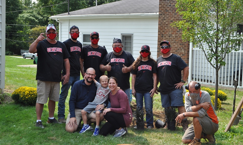 Denison groundskeeping staff with Andrew and the Kodner family