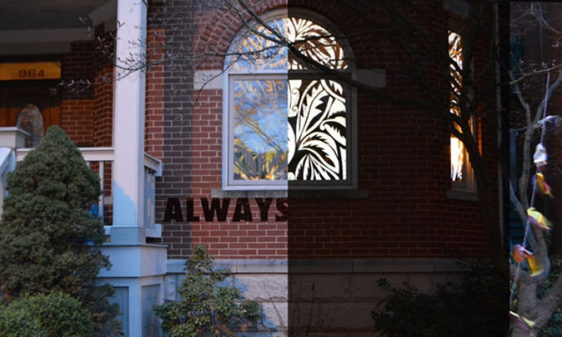 """Always"" on brick exterior of house"