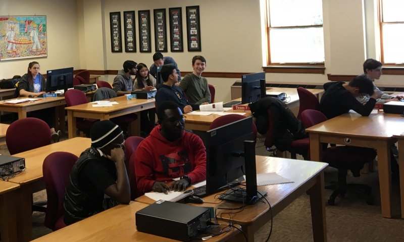 Students working in Olin Classroom