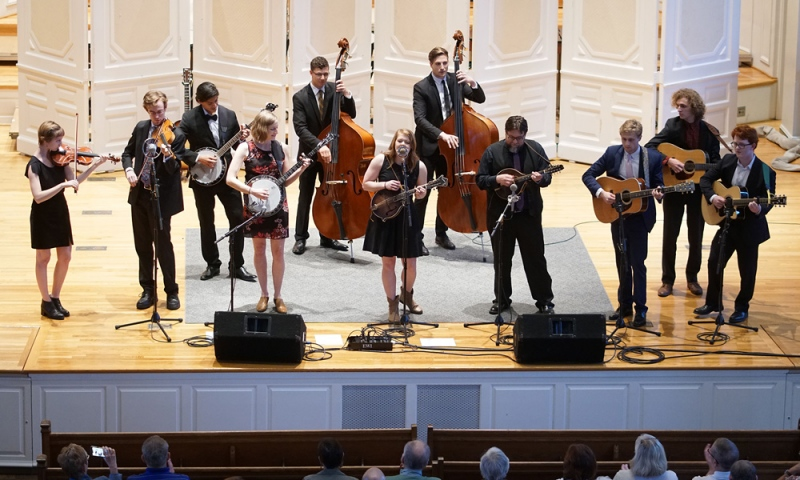 Bluegrass students performing in Swasey Chapel