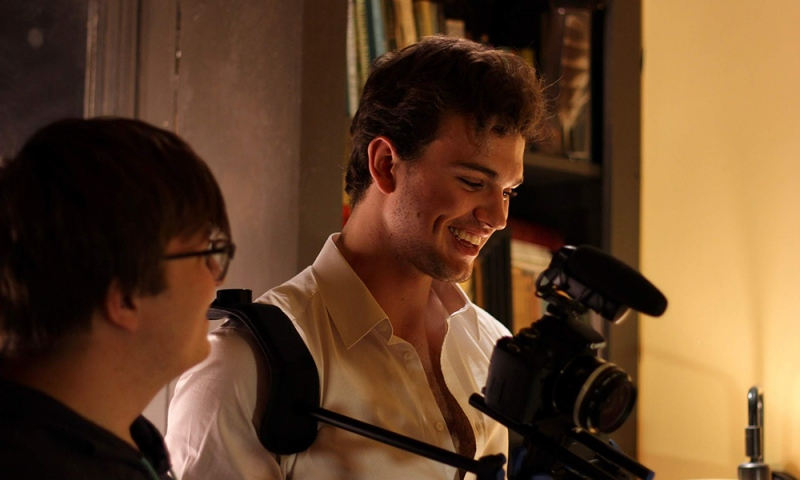 Cinema major Arman Meinecke '21 in the midst of creating a film