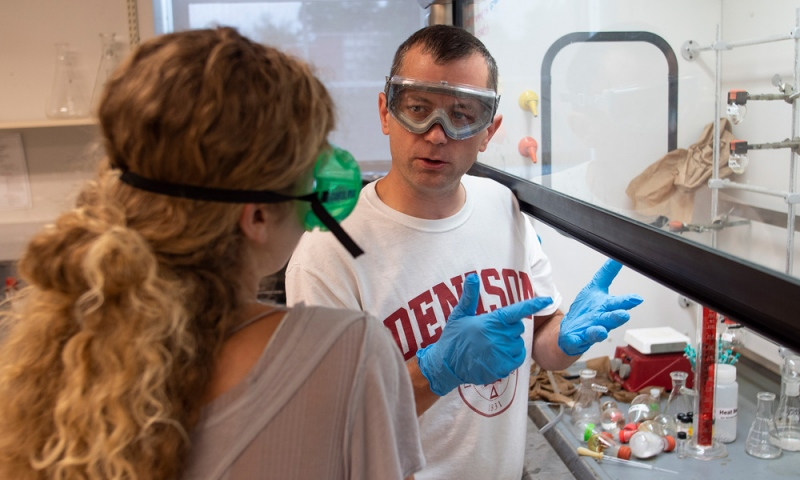 Denison professor and student in a chemistry lab