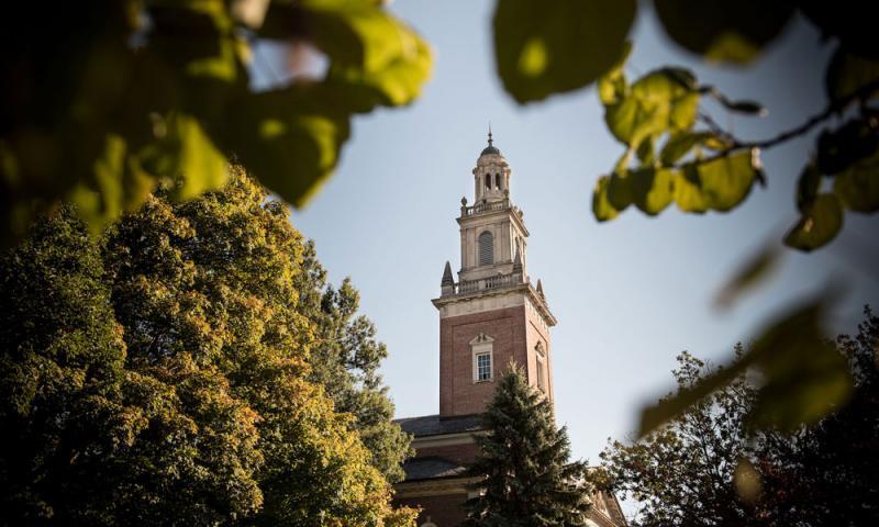 Fall Photo of Swasey Chapel through Treeline