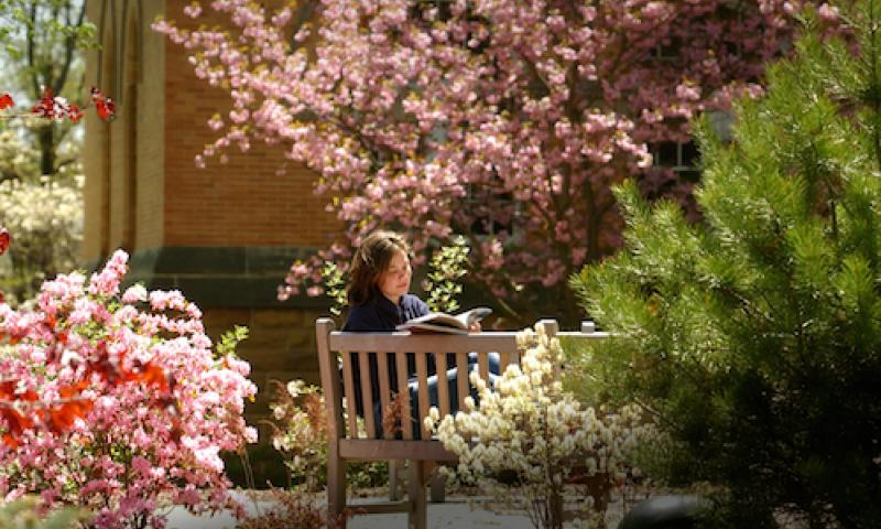 denison-reading_on_academic_quad