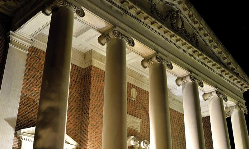 Swasey Chapel at night