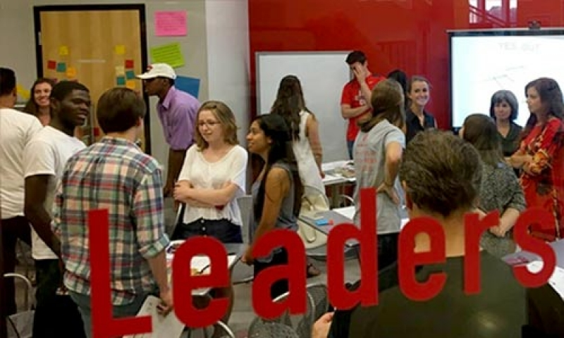 Photo of students attending a session in the Red Frame Lab at Denison University