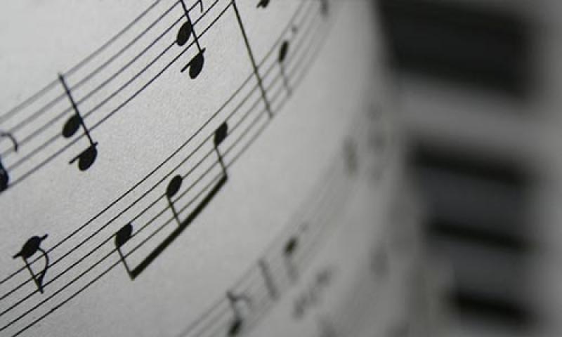 A close-up photo of sheet music