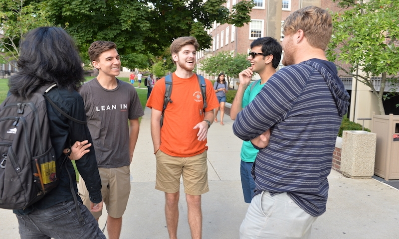 Students chatting on the quad