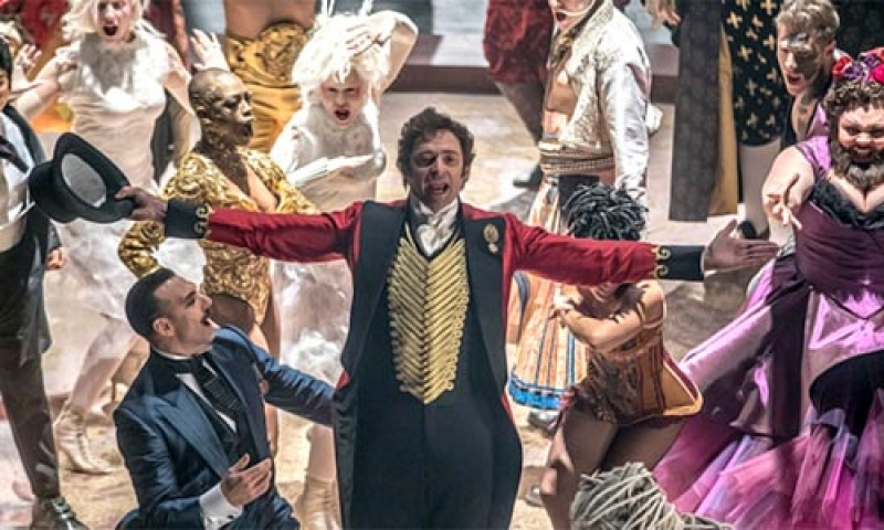 """Photo of the main character from a screening of the 2017 musical drama """"The Greatest Showman."""""""