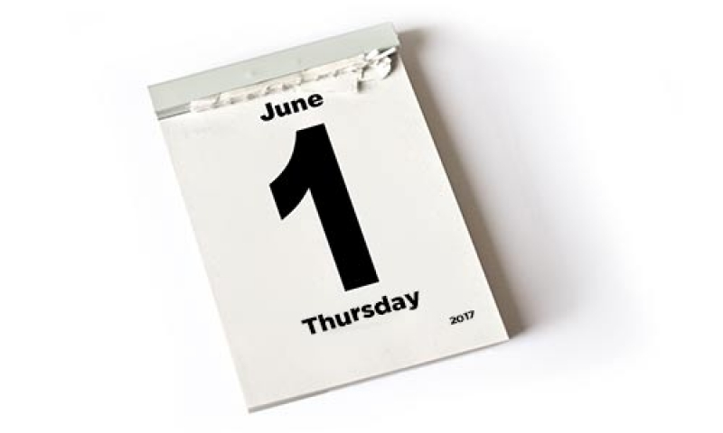 Picture of a calendar page saying June 1 Thursday
