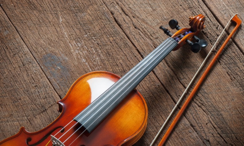 picture of a violin and bow