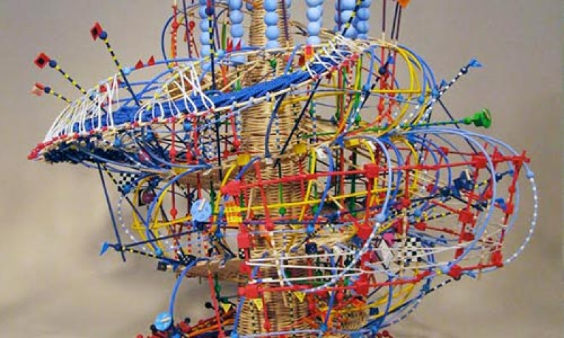 """Photo of a sculpture from """"Weaving Science Data into Sculpture and Music."""" workshop"""