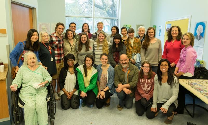 Group Photo of Students & Residents of Flint Ridge Nursing and Rehabilitation Center