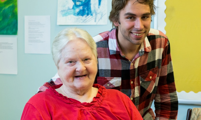 Male student and female Resident of Flint Ridge Nursing and Rehabilitation Center