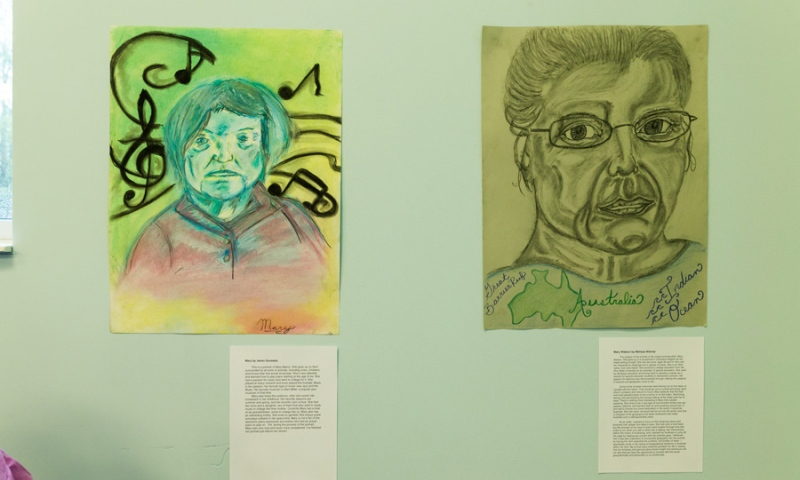 2 pieces of colorful art work at the exhibit at Flint Ridge Nursing and Rehabilitation Center