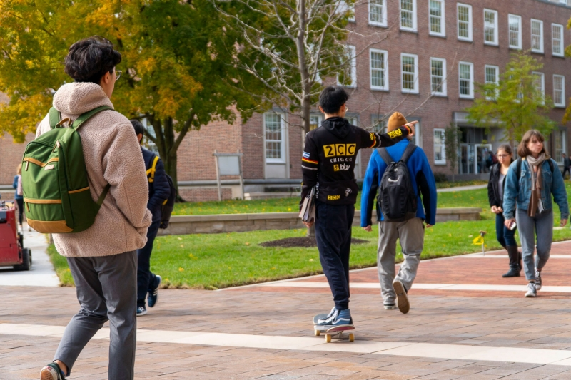 Students walking on a-quad