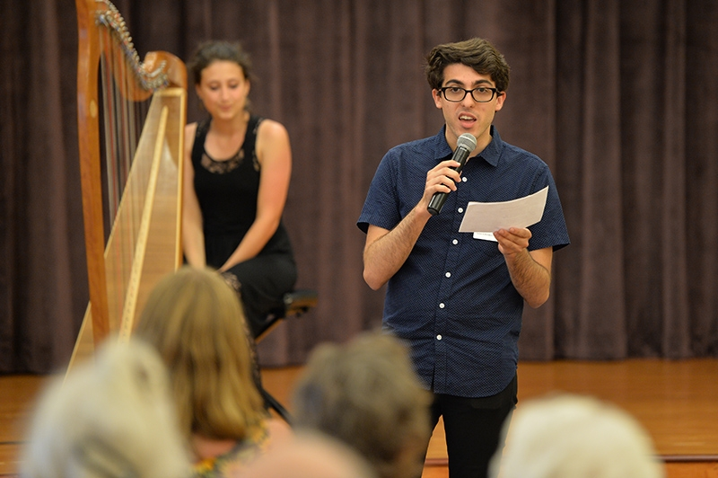 Ponce introducing harpist Clemente at Kendal