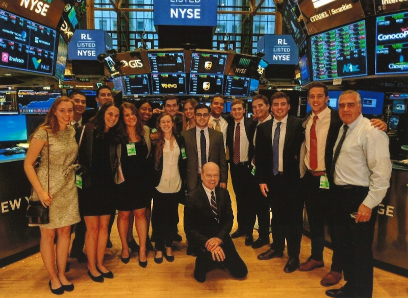 Students with Dr. David P.J. Przybyla at the NYSE