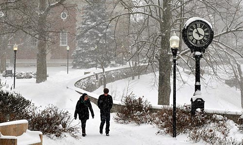 A photo of Chapel Walk during a snowstorm