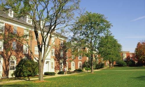 Denison University East Residential Quad in summer