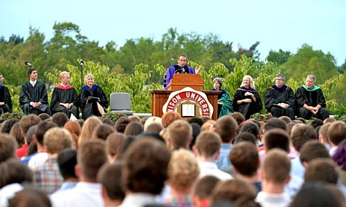 A photo of Denison's First-Year Induction Ceremony
