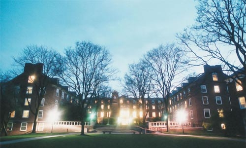 The East Residential Quad at night