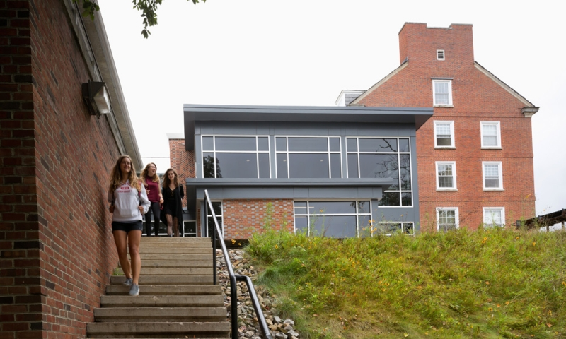 Students walking near their residence halls