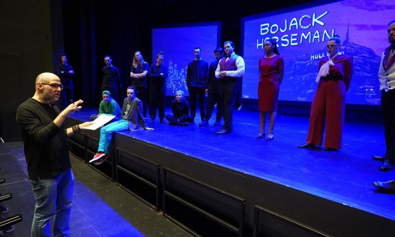 Denison students rehearsing for 'BoJack Horseman'