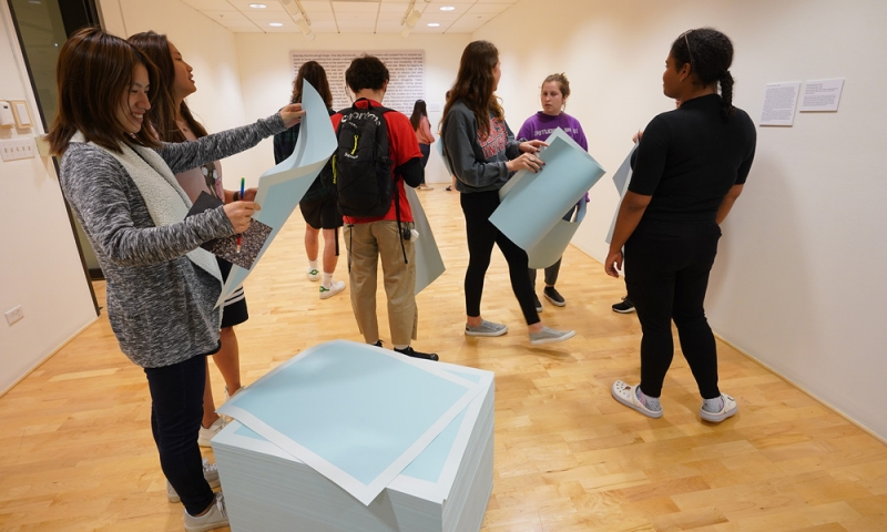 Students interacting with the About Ourselves/Inside Ourselves exhibit