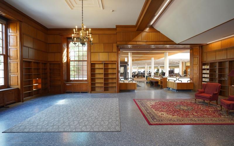 Library entrance and circulation desk