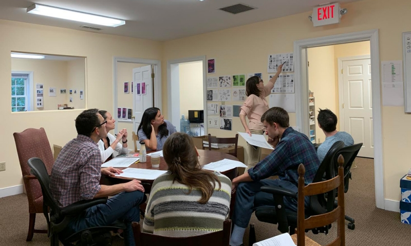 VQR editors and interns gather for a Tuesday production meeting of VQR's Fall Issue.