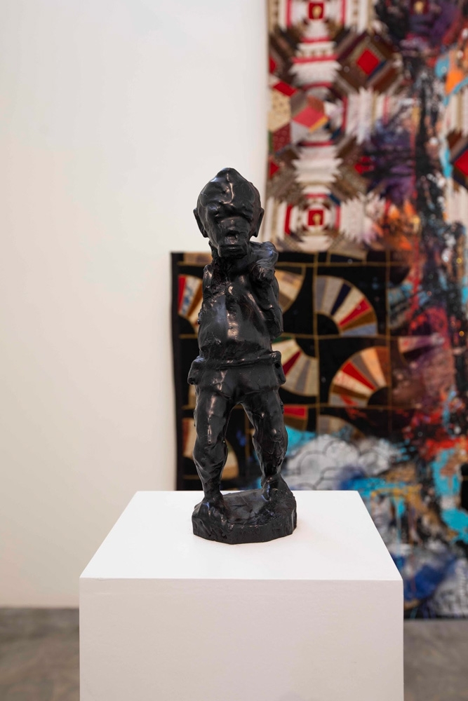 Sanford Biggers, BAM (For Terence), 2016, Bronze with black patina, HD video (35 seconds), 14 1/2 x 4 1/2 x 4 1/2 inches, Courtesy of the artist and Monique Meloche Gallery, Chicago