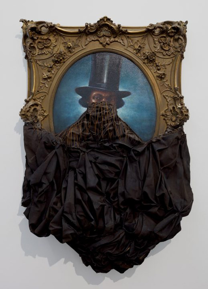 Titus Kaphar, A Disturbing Silence, 2011, Oil on canvas with antique frame, 52x48x12.5in, Courtesy of Hedy Fischer and Randy Shull