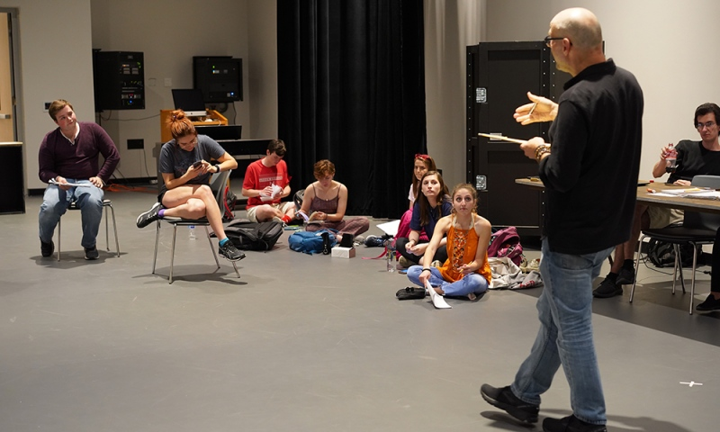 Students rehearsing with Mark Bryan in the Large Rehearsal Space