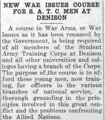 Newspaper clipping - New War Issues Course for S.A.T.C Men at Denison