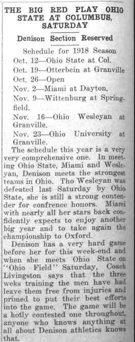 Newspaper clipping - The Big Red Play Ohio State at Columbus, Saturday