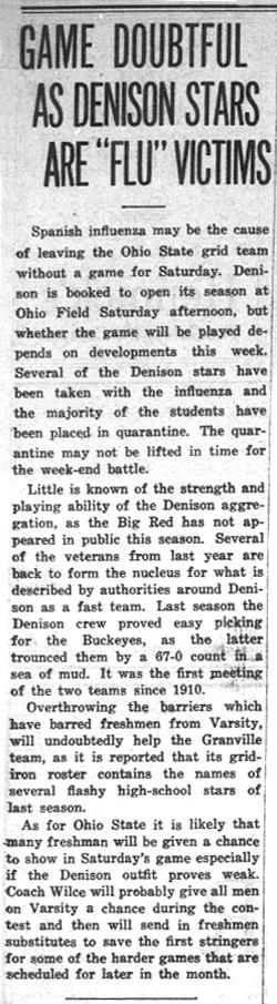 """Newspaper clipping - Game Doubtful as Denison Stars Are """"Flu"""" Victims"""