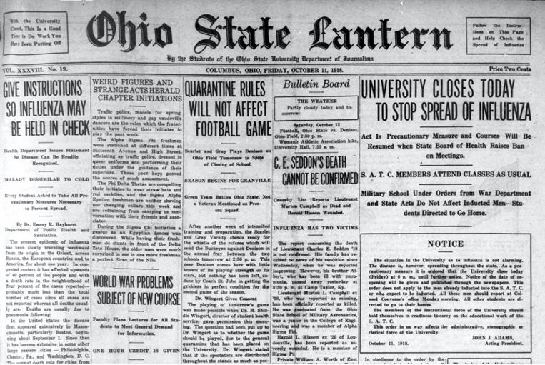 Newspaper frontpage - Ohio State Lantern