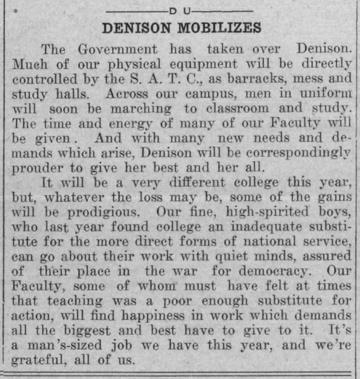 Newspaper clipping - Denison Mobilizes