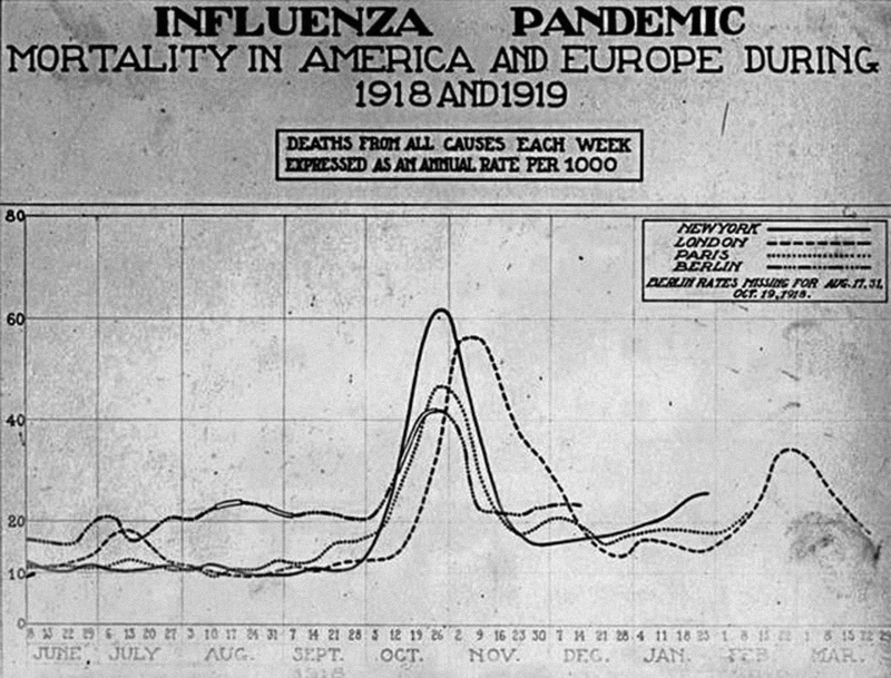 Graph of Influenza Pandemic - Mortality in America and Europe during 1918 & 1919