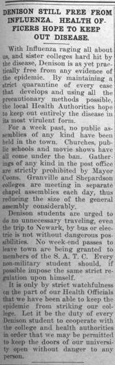 Newspaper clipping - Denison Still Free From Influenza