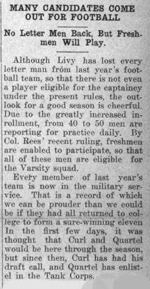 Newspaper clipping - Many Candidates Come Out for Football