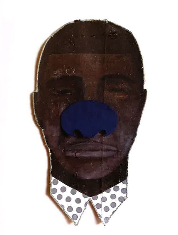 Alicia Henry, Untitled (Blue Nose, Male), 2015, Mixed Media, 32x17in, Courtesy of Hedy Fischer and Randy Shull